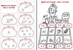 Mystery na trgu: igra o denarju v CP French Teaching Resources, Teaching French, Montessori, Math Exercises, Math 5, Math Addition, Math Problems, Reading Material, Scrapbook Albums
