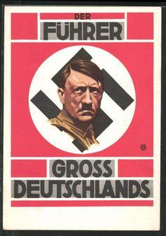 old postcard: AK Der Führer Großdeutschland´s Adolf Hitler, Hakenkreuz