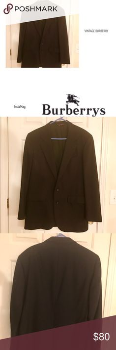 VINTAGE MEN'S BURBERRY WOOL BLAZER, size 40 Reg I am offer g you this very classic black Burberry Vintage 2 Button Blazer. It is in excellent condition. It does need to be dry cleaned. I can do it for an extra fee otherwise I will price it to sell. Besides needing dry cleaning, it is in perfect condition. It will never go out of style. A great blazer to wear with jeans. Please ask questions Burberry Suits & Blazers Sport Coats & Blazers