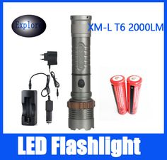 New 2000 lumens High Power 5 Modes  XM-L T6 LED Flashlight  torch suitable two 18650 batteries Telescopic Zoom lamp lantern #Affiliate