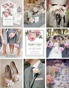 Garść inspiracji dla wesela w tonacji różu, szarości i stylu glamour. // Pink and gray and glamour wedding ideas and inspirations  źródło: zaproszenie - www.makaprints.pl/zaproszenia/13,gotowe-projekty.html bukiet - www.stylemepretty.com , Alyse French Photography stół, buty i butonierka - Dasha Caffrey Photography pozostałe - Pinterest