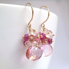 Pink Gemstone Cluster Earrings 14k Gold October Birthstone