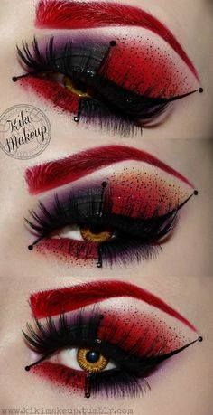 Harlequin or Queen of Hearts makeup idea. #harleyquinn #queenofhearts #eyemakeup