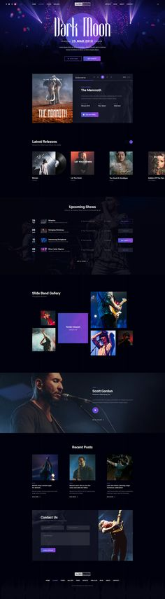 Slide is a beautiful and creative PSD template for Music Bands & Artists with clean, modern, eye catching design. It is perfect choice for musician and bands website. #webdesign #web #graphicdesign #ui