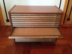 Cassettiera tipografia in legno vintage portalettere | eBay