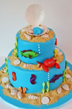 Baby shower cake idea, or without the baby, it's a stinkin' cute under the sea cake for birthdays and parties!