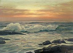 Frederick Judd Waugh (American, 1861-1940) Seascape at Sunri