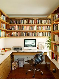"Great idea for a home office that houses a lot of books. Create a visual ""library"" that is decorative too. http://www.blogtalkradio.com/thedeclutteredhome/2013/01/03/organizing-your-new-year-home-office-with-ronique-gibson"