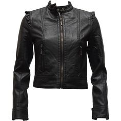 FineBrandShop Ladies Black Synthetic Leather Biker Jacket 2 Button Neck ($40) found on Polyvore featuring outerwear, jackets, black zip jacket, faux leather jacket, faux leather biker jacket, black zipper jacket and vegan motorcycle jacket