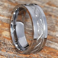 The Jupiter Mens Wedding Bands features a carved Infinity Symbol circling the Tungsten Wedding band. Celtic Wedding Bands, Unique Wedding Bands, Tungsten Wedding Bands, Wedding Rings, Celtic Knot Ring, Celtic Rings, Promise Rings For Guys, Rings For Men, Otp
