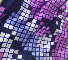 """Purple Pixels - Silk Charmeuse (9""""x23"""")"""
