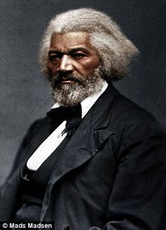 """Frederick Douglas portrait colorized. At birth subjected to slavery in the south. When his master found out his daughter was teaching him to read & write at a young age the master was furious. At a young age Douglass escaped to New York where he began his campaign for freedom of all African descendents. Douglass proclaimed """"Christian"""" southern slave owners were the worst. Using """"falsely"""" the Bible as their justification for mistreatment and ownership of African slaves."""