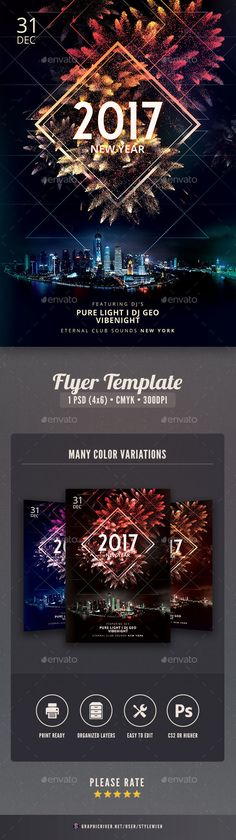 New Year Flyer  — PSD Template #event #celebrate • Download ➝ https://graphicriver.net/item/new-year-flyer/18442879?ref=pxcr