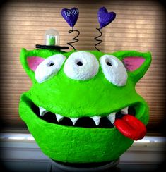 Pop Art Minis: Oops, She Did It Again...A Paper Mache' Creative Creature Monster valentine's day box