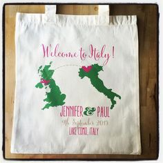 Oooooo so in love with this adorable welcome tote for a fab destination wedding in Italy!! #italy #italianbride #italybride #italywedding #destination #destinationbride #destinationwedding #jetset #wedding #weddinggift #weddingtote #weddingfavor #weddingideas #weddingthanks #weddinginspiration #ilulilydesigns