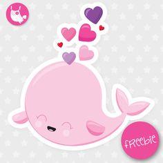 Valentine Whale Freebie - Prettygrafik Store Freebies Archives - Page 4 of 6 - Prettygrafik Store Printable Planner, Free Printables, Window Clings, Print And Cut, Design Bundles, Mini, Whale, Diy And Crafts, Hello Kitty