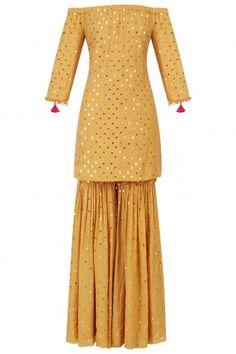 Monika Nidhii Mustard Off-Shoulder Embroidered Kurta and Sharara Set Bridal Mehndi Dresses, Pakistani Bridal Wear, Pakistani Dresses, Indian Dresses, Indian Outfits, Indian Attire, Indian Wear, Off Shoulder Kurti, Ethnic Trends