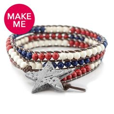 Fusion Beads | Our We Salute You wrapped cord bracelet is right on trend for your summer celebration! Show off your red white & blue by wrapping your wrist in this new DIY 4thOfJuly jewelry design! #FusionBeads #WhereYourJewelryBegins