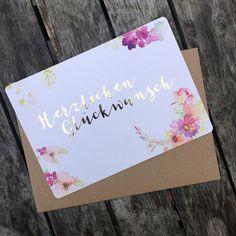 Blumen - Glückwunsch-Karte mit Goldprägung, inkl. Umschlag - ein Designerstück von zartbesaitet bei DaWanda