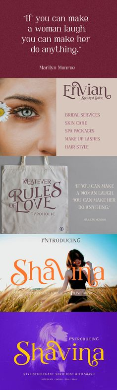 Shavina Serif Font are fonts that are made with elegant feminine pretty concepts and have alternatives with beautiful swash curves for the purpose of being used Best Serif Fonts, Skin Care Spa, Women Laughing, Text Quotes, The Help, Curves, Logo Design, Hair Styles, Pretty