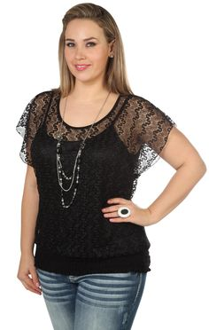 plus size lace dolman top with flutter sleeves and necklace