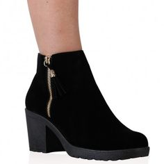 Ruth Ankle Boots in Black Faux Suede