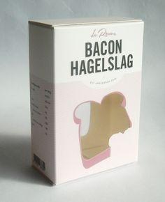 bedrukte doos met venster voor kickstarter project broodbeleg Bacon Hagelslag