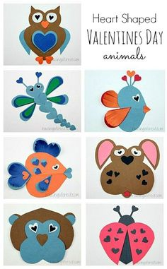 animals made from heart shapes | Animals made from hearts ~ Valentine Craft Ideas