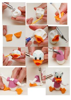 daisy duck fondant tutorial by anastasia - tattoo ideas Fondant Cake Toppers, Fondant Cakes, Cake Decorating Techniques, Cake Decorating Tutorials, Fimo Disney, Polymer Clay Disney, Cake Topper Tutorial, Disney Fondant Tutorial, Fondant Figures Tutorial