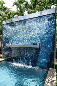 Waterproof Art Panels by Alex Turco cool water feature Backyard Pool Designs, Swimming Pool Designs, Landscape Design, Garden Design, Pool Water Features, Pool Fountain, Water Walls, Dream Pools, Beautiful Pools