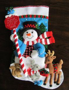 Bucilla Santa Stop Here 18 Completed Handmade Christmas Decorations, Christmas Crafts, Christmas Ornaments, Cute Stockings, Christmas Stockings, Felt Stocking, Felt Toys, Felt Ornaments, Handmade Shop