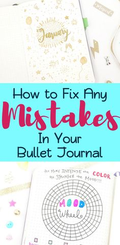 It's normal to make mistakes in your bullet journal, so don't let that get you down! Conquer it with one of 17 clever ideas for fixing your bujo mistakes! Bullet Journal How To Start A, Bullet Journal Spread, Bullet Journal Layout, Bullet Journal Inspiration, Bullet Journals, Bujo, Journal Pages, Journal Prompts, Planner Stickers