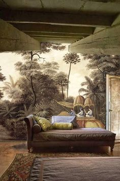 Beautifully nostalgic decor combines the heritage of a Period home together with mural of a Colonial scene merged with dark, dramatic colours for a room full of character. Scenic Wallpaper, Wall Wallpaper, Interior Wallpaper, Mural Art, Wall Murals, Inspiration Wand, British Colonial Style, Deco Nature, Ivy House