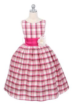 ec9dbef4a4 Checkered Plaid Flower Girl Dress in Bright PinkThis adorable fuchsia pink  plaid checkered dress is a last chance item. Clearance item ships same day  and ...