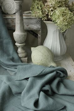 Antique linen sheet dyed blue / teal tone ~ lovely tones for Gustavian / Swedish interiors or lovely for French country interior ~ www.textiletrunk.com
