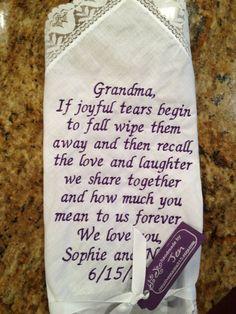 Grandma GRANDMOTHER LACE SCRIPT Heirloom Personalized Wedding Handkerchief Custom Embroidered