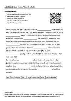 "Arbeitsblatt mit Lückentext zum Thema ""Umweltschutz"" Learning German, Study, Education, Teaching High Schools, Teaching, Environmental Education, Environmental Pollution, Environmentalism, Training"