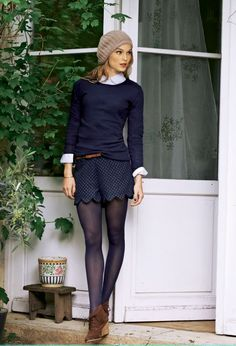 Navy sweater, polka dot skirt, tights