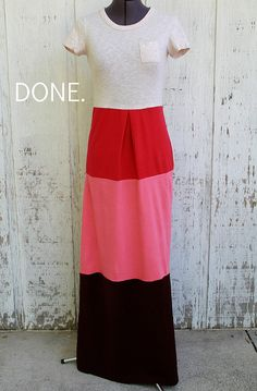 How to sew a color block maxi dress out of t-shirts from Kristina J.