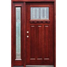 Pacific Entries 54 in. x 80 in. Diablo Craftsman 1 Lite Stained Mahogany Wood Prehung Front Door with Dentil Shelf & One 14 in. Sidelite, Medium Mahogany