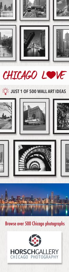 Decorate your walls an element of the city you love, Sweet Home Chicago ...   Free shipping on all photographs ...  Smaller photo only  images start at just $26 while larger artwork can be purchased for $179 ... Photographs available framed, matted, or photo only.