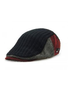 6650cd860fa Men s Knitted Wool duckbill Hat Warm Newsboy Flat Scally Cap - Black -  CQ12LSMVZB3