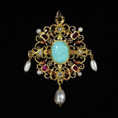 The Wild Jewel: Pendant jewel in gold and enamel set with diamonds and rubies, enclosing a turquoise cameo of Elizabeth I and hung with pearls. British, 1590s.
