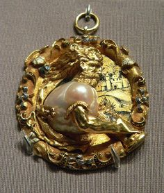 Hercules Pendant French 1540 Gold Enamel and Pearl .