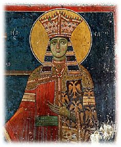 A Serbian Helena of Byzantium, possibly the one involved here. Helena Palaiologina, daughter of Despot Thomas of the Morea, was sen. Fresco, Byzantine Icons, Byzantine Art, Women In History, Art History, Tempera, Byzantine Architecture, Michael Church, Religious Icons