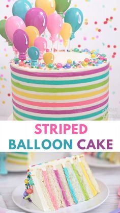 Is there anything more fun than buttercream stripes? This cheerful cake trend is all the rage these days, and it adds a bit of whimsy to any cake design. For this Striped Buttercream Balloon Cake, I Food Cakes, Cupcake Cakes, Lollipop Cake, Fondant Cakes, Colorful Birthday Cake, Birthday Cake Girls, Birthday Cake Designs, Shopkins Birthday Cake, Candy Birthday Cakes