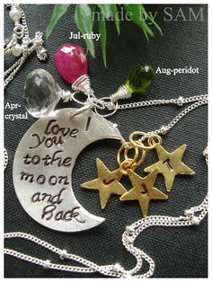 Mothers Day gift personalized family necklace  moms  by madebysam, $98.50  Could be Anniversary or Birthday gift as well!