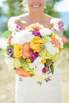 Colorful Wildflower-Inspired Round Bridal Bouquet