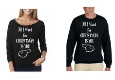 All I Want for Christmas Is You Couple Sweaters for Ladies and for MenCozy,The Terry Raw Edge 3/4-Sleeve Raglan Ladies Mens Crewneck Sweater