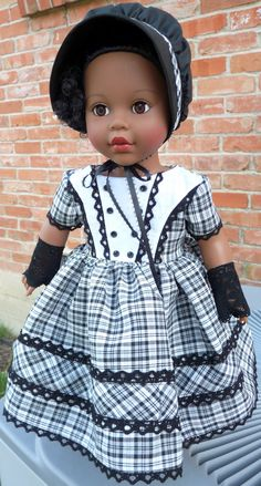 "18"" Doll Clothes Mid 1800's Fashion Civil War Style Historical Dress with Bonnet and Gloves Fits American Girl Cecile, Addy, Marie Grace"